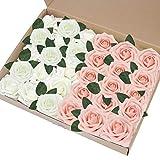EQLEF Rose Artificielle Blanche, Bricolage Faux Roses Fleur décorations Cadeau de Mousse de Roses pour la décoration de fête de Mariage Affichage Rose et Ivoire -30pcs