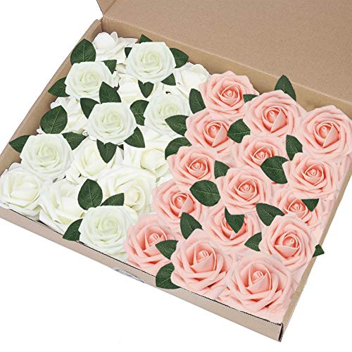 Eqlef rosa artificiale rossa, fai da te fakes rose flower decorations foam rose regalo per la decorazione della festa nuziale display rosa e avorio -30pcs