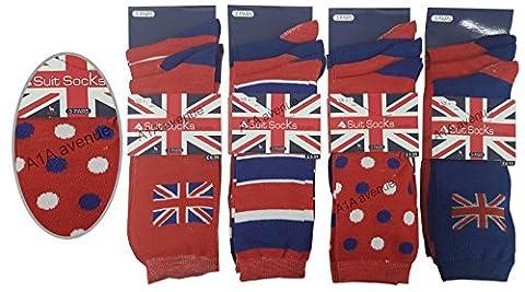 6 Pairs Designed Men's Cotton Rich Lycra Formal Suit Socks