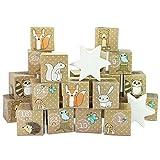 LD Weihnachten Deko DIY Adventskalender Kisten Set – Motiv Weihnachtsmann – 24 bunte Schachteln