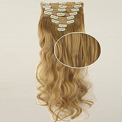 8 Piece 18 Clips Clip in Hair Synthetic Extensions Full Head 27 inches (68cm) Wavy Hair Extension Lady Women Clip on Hair Hairpieces Ginger