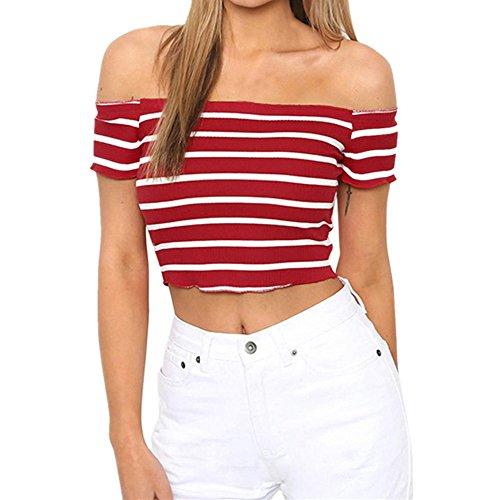 FAMILIZO Camisetas Mujer Manga Corta Camisetas Mujer Verano Blusa Mujer Sport Tops Mujer Verano Camisetas Sin Hombros Mujer Camisetas Mujer Manga Corta Algodón Camiseta Rayas Mujer (S, Rojo)