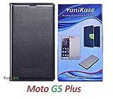 YuniKase Motorola Moto G5 Plus / Moto G5 Plus - - - Leather Flip Case cover (Black)