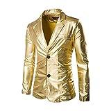 Chaqueta de Traje de Lentejuelas Americanas Casual Slim Fit Blazer para Hombre Oro XL