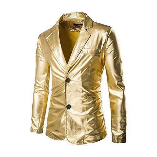 Giacca di paillettes - casual elegante slim fit blazer - uomo oro l