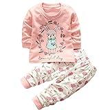 HENGSONG Petite Fille Motif Garçons Filles Coton Pyjama Bébé Four Seasons Sous-vêtements Ensembles Enfants (73cm)