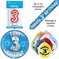 3rd Birthday Party Set Age 3 Boys (Banner Balloons, Candle, Badge)