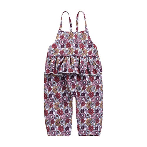 Shiningbaby Baby Mädchen Latzhose Floral Bedruckte Overall Bib Hose Shortalls Shorts Overall