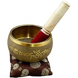 RoyaltyRoute de latón tibetano meditación cantando Bowl con aguafuerte especial con Buda hecho a mano para la relajación, curación y atención de conciencia 12,5 CM