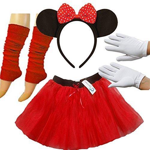 e Maus Satz Damen Kostüm Tutu Ohren Handschuhe Beinwärmer Set Outfit komplett 4 Stück Set (Rote Minnie Maus Kostüme Für Erwachsene)