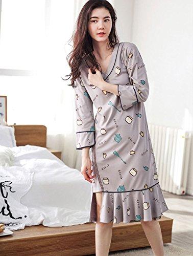 YAN 2018 Sommer Kleidung Frauen Unregelmäßige Home Kleidung Drucken Glatte Weiche Baumwolle Sommer Nachthemden (Farbe : 1, Größe : XL) - Drucken Baumwoll-nachthemd