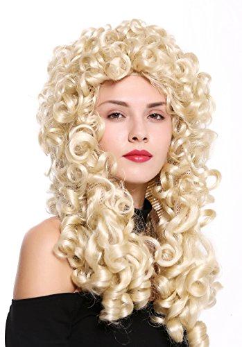 Wig me up ® - b17-2p-b-613 parrucca donna uomo barocco rinascimento re nobiluomo lunga ricci biondo platino