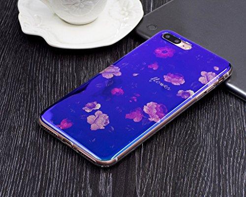 Für iPhone 7 Plus Hülle,iPhone 7 Plus (5,5 Zoll) Silikon Hülle,Mo-Beauty® Klare Ultradünne Silikon Gel Schutzhülle Durchsichtig,Bunte Blumen Malerei Painted Muster Transparent TPU Sillikon Weich Ultra K