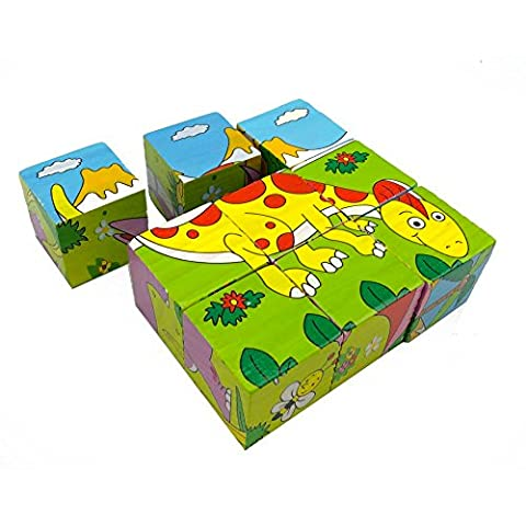 Saienf 9 Piece Wooden Cube Block Jigsaw Puzzles Early Educational