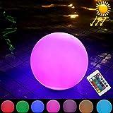GuoBo LED light GuoBo LED LEH-42321, Lampe d'alimentation solaire à boule ronde de 40 cm, Jardin flottant, changeant de lampe LED colorée avec panneau solaire en silicium monocristallin de 2,8 W et té