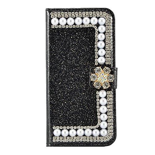 3D Bling Case pour iPhone 6 Plus 6S Plus Housse Étui ,Portefeuille Universelle Flip Bookstyle Shell Cas in PU cuir Diamant Bling Bling Strass simili cuir avec perle Paillettes Cristal Sparkle Glitter  Bling Noir