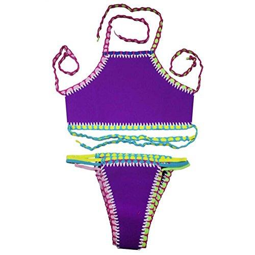PU&PU Frauen-Strand-Halter-Bandeau-Häkelarbeit-Bikinis-zwei Stück-Satz-Badeanzug-Druck-drahtloser Padless-Büstenhalter justierbar Purple