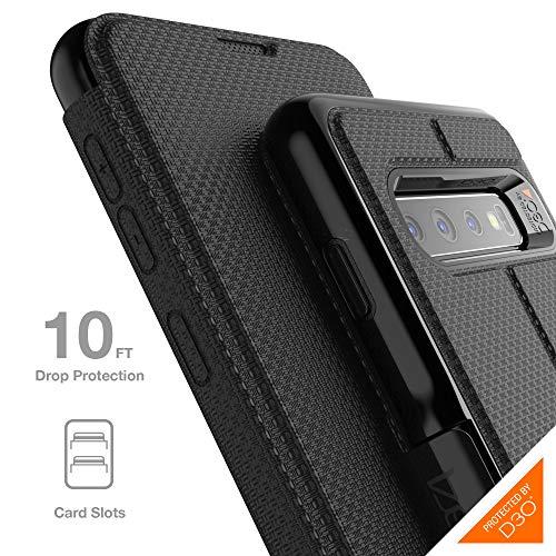 Gear4 Oxford Folio-Hülle mit verbessertem Stoßschutz [D3O-geschützt], Aufstellfunktion, Kartenfächer, schlankes, Robustes Design für Samsung Galaxy S10 – Schwarz