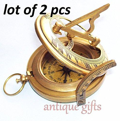 Hello.Nauticals.Store Messing-Kompass, Militär oder Schiffe, nautische Taschenuhr, Sonnenuhr, Kompass, Messing, Vintage-Kompass, Antik-Finish, 2 Stück