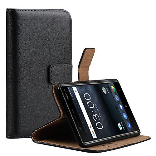 Ambaiyi Flip Echt Ledertasche Handyhülle Brieftasche Hülle Schutzhülle für Nokia 5 , Schwarz