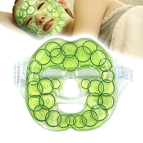 KOBWA Gel Gesichtsmaske Heiß Kalt Gesichtspackung, Wiederverwendbare Wärme/Kühlung Therapy Gel Pack Hydration Full Face Masks für Geschwollene Augen, Hautverbesserung, Schmerz und Stressabbau