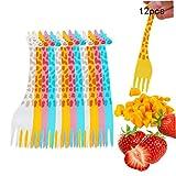 Romote 12pcs Cibo Strumento Insalata Gadget a Forma di Coltello da Cucina Selezione di Frutta spuntino stuzzicadenti stoviglie Giraffa Cartoon