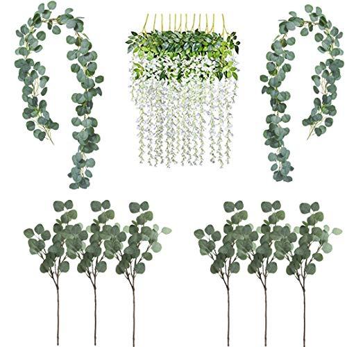SVF Eukalyptus-Girlande, Seidenblumen, Girlande, Grünpflanzen, Kunstblumen, Kunstblumen, Hochzeit, Dschungel, Party-Zubehör, künstliche Blätter