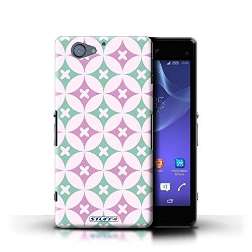 Kobalt® Imprimé Etui / Coque pour Sony Xperia A2 / Rose vive / vert conception / Série Kaléidoscope Rose vive / vert