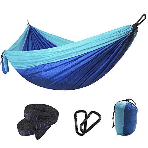 Jun7L Camping-Hängematte Leichte tragbare Nylon-Hängematte, Beste Einzel- und Doppel-Fallschirmhängematte für den Rucksackurlaub Camping Travel Beach Yard Grün 275x140cm