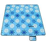 MOVTOTOP MOVTOTOP 200 x 200 cm XXL Picknickdecke Fleece wärmeisoliert Wasserdicht groß Leicht Campingdecke mit Tragegriff für Outdoor Picknick Strand (Hellblau)