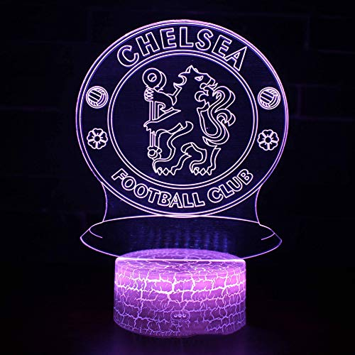 SJSF L LED Chelsea Football Club 3D Nachtlicht Kreative Elektrische Illusion Lampe 7 Farben Ändern USB Touch Schreibtischlampe,7touch+remotecontrol -