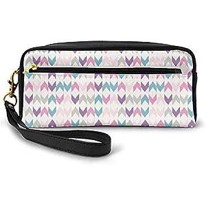 Étnico asiático Chevron Ikat en Pastel Zigzags de Tonos Suaves Diseño de triángulos Cruzados Pequeña Bolsa de Maquillaje Estuche de lápices 20cm * 5.5cm * 8.5cm
