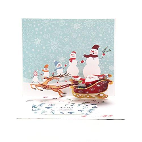 (Vazan - Merry Xmas 3d Hirsche Pop Up Karte Frohes Neues Jahr Origami-Sankt-Weihnachtskarte Postkarte Urlaub Kinder Geschenk Happy Christmas)