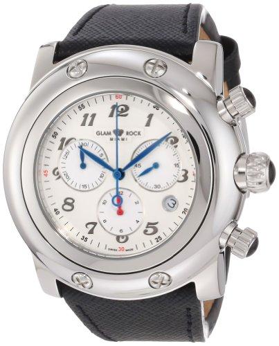 Glam Rock Unisex Miami 46mm Black Leather Band Steel Case Swiss Quartz White Dial Analog Watch GR11127