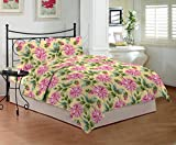 Bombay Dyeing Mistyrose 120 TC Polycotton Double Bedsheet with 2 Pillow Covers - Pink