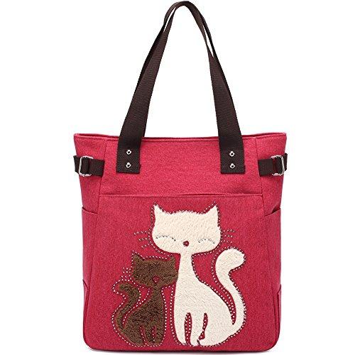 KAUKKO Donne Canvas Handbag Shopping bag Rosso 02