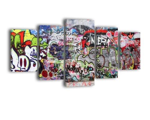 Leinwandbild Graffiti 3 LW70 Wandbild, Bild auf Leinwand, 5 Teile, 210 x 100 cm, Kunstdruck Canvas, XXL Bilder, Keilrahmenbild, fertig aufgespannt, Bild, Holzrahmen, Street Art, Tagging, Bunt