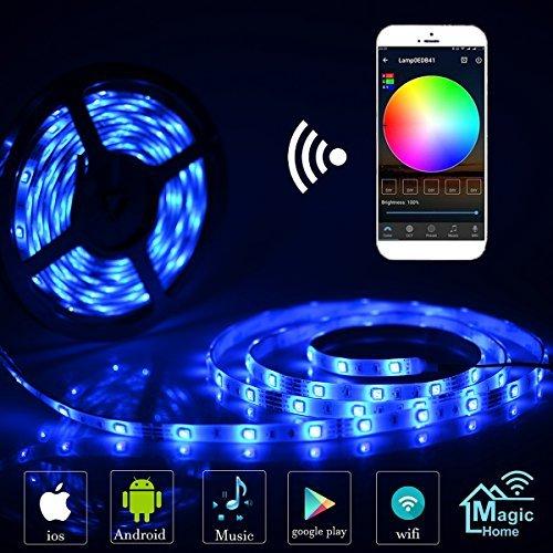 Simfonio LED Stripes 5m LED Streifen - LED Band Arbeitet mit Alexa, Google Home, IFTTT, Wifi Wireless Smart Phone Gesteuert - LED Stripe wasserdicht 150Leds 5050 SMD RGB LED Strip 5m Full Kit