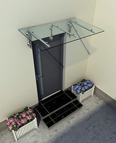 230 x 90 cm (3 Haltestangen) Glasvordach Vordach Türvordach Türdach Haustür Klarglas Glas...