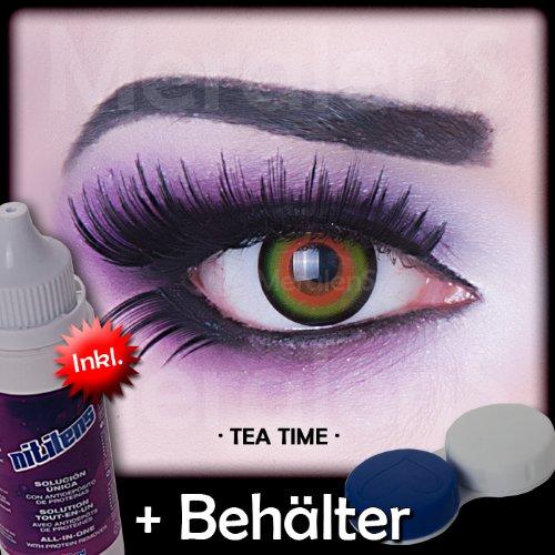 Farbige grüne hellgrüne hell grüne Crazy Fun Kontaktlinsen crazy contact lenses Tea Time 1 Paar perfekt zu Fasching, Karneval und Halloween. Mit gratis Linsenbehälter + 60ml Pflegemittel