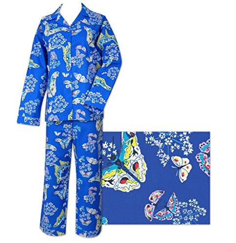 Der Katze Schlafanzüge Royal Schmetterling Katze Damen Baumwolle Pyjama Gr. X-Large, blau (Schmetterling Pyjamas Pjs)