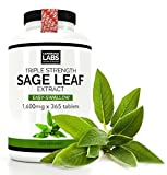 Sage Leaf Extract Pro-Strength 1600mg x 365 Full Year Supply Vegan | UK Made | for hot Flushes, Hormonal Balance, Cognition & Memory, Digestion and Natural Antioxidant | Vegan & Vegetarian