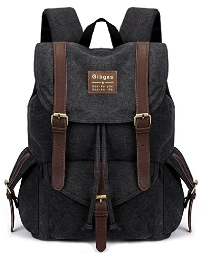 Tasche Canvas Vintage Kamera (Rucksack Herren Arbeit Damen Canvas Backpack Schulrucksack Jungen 14-15.6 Zoll Laptoprucksack Für Uni Student mit Laptopfach (Schwarz))