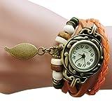 Upxiang Frauen Kinder Retro Leather Winding Armband, Blatt Anhänger Uhr, Damenuhr, Damen Herrenuhr, Damen Watches, Uhren (Orange)