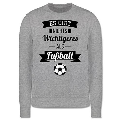 Fußball - Es gibt nichts Wichtigeres als Fußball - Herren Premium Pullover Grau Meliert