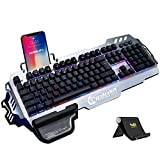 Normia Rita 104 klicken Mechanische Spiel Tastatur, Hintergrundbeleuchtung RGB LED Gaming-Tastatur, Beleuchtete Mechanical Keyboard mit Handy Halter - Aluminum Metall GunMetal Grau