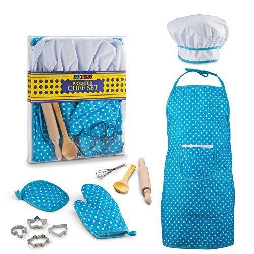 JaxoJoy Premier Chef Set In Blau – Komplette Kinder Küche Geschenk Spielturm Mit Chef Es Hut, Schürze, Kochen Mitt & Utensilien – Empfohlen Für Boys & Mädchens Alter 3 ()