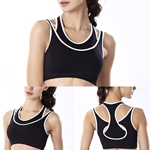 Zhhlaixing Women's Sports Bra Workout and Gym Racerback Double Layer Seamless Yoga Bra Black