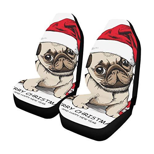 Reopx Sitzbezug Ersatz Puppy Pug Santas Hut Weihnachten Spielzeug Universal Fit Auto Autositzbezüge Schutz Für Auto LKW Geländewagen Fahrzeug Frauen Dame (2 Vorne) Komfort Sitzbezug