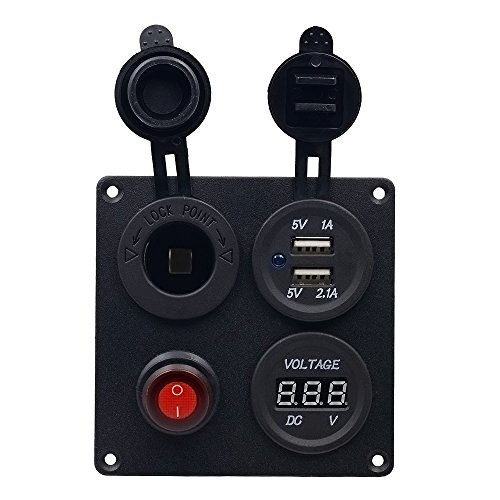 Panel 2 (BlueFire Schalter Panel,2 USB Ladegerät Adapter + Zigarettenanzünder + Led Voltmeter + On-Off-Button 12V/24V Wasserdich Aluminium für Auto Boot Marine RV LKW Motorrad)